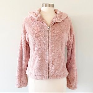 LC Lauren Conrad Pink Fuzzy Hooded Jacket